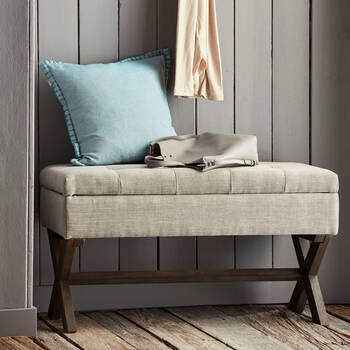 Upholstered Fabric and Wood Storage Bench