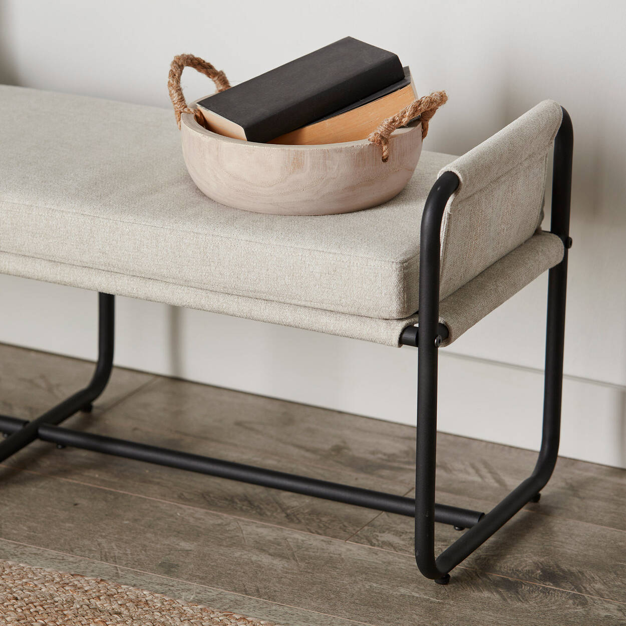 Fabric and Black Metal Bench