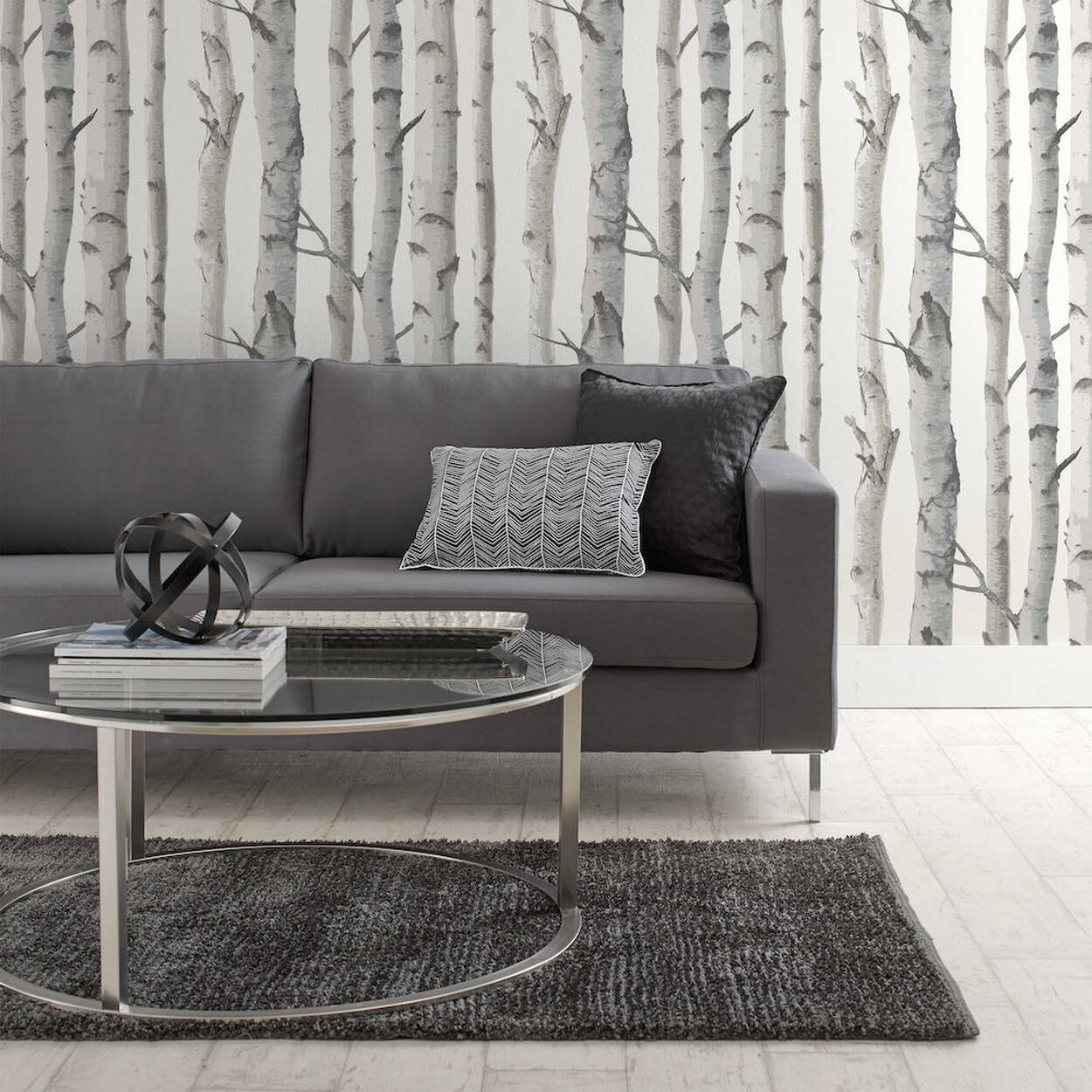 Birch Trees Wallpaper Double Roll Bouclair Com