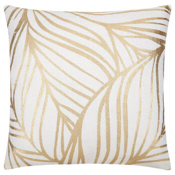 "Leaf Decorative Pillow with Foil Embellishments 19"" X 19"""