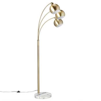 Lampe sur pied à trois têtes avec base en marbre