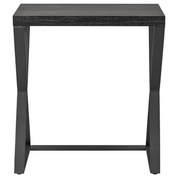 Wood Veneer and Metal Side Table