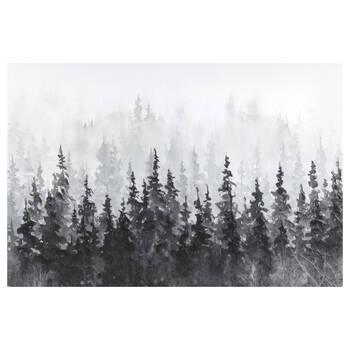 Gel-Embellished Winter Forest Printed Canvas