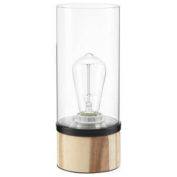 Cylinder Glass and Wood Table Lamp