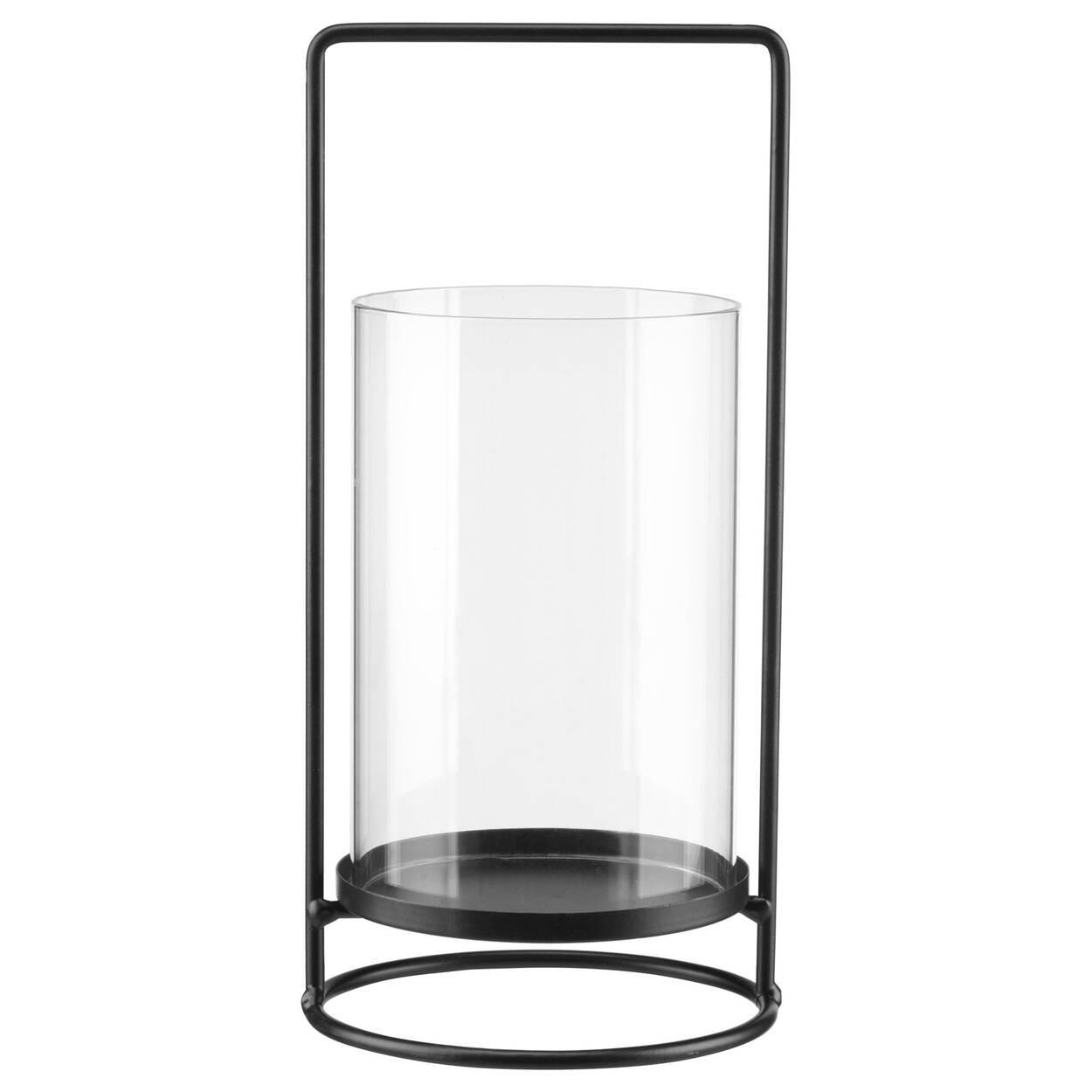 Porte-chandelle en verre et poignée en métal