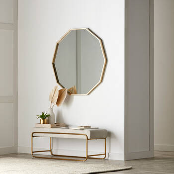 Golden Polygon Framed Mirror