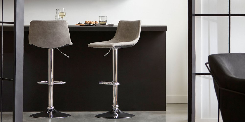 Textured Faux Leather & Chrome Adjustable Bar Stool
