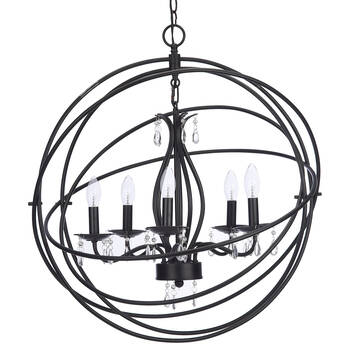 Metal Chandelier Ceiling Lamp With Droplets
