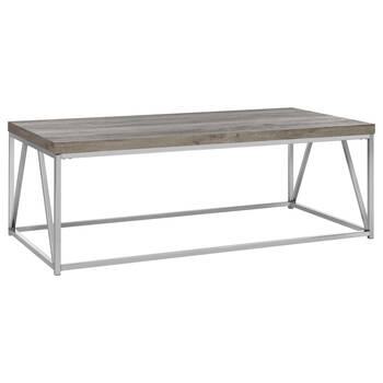 Veneer Wood and Chrome Coffee Table
