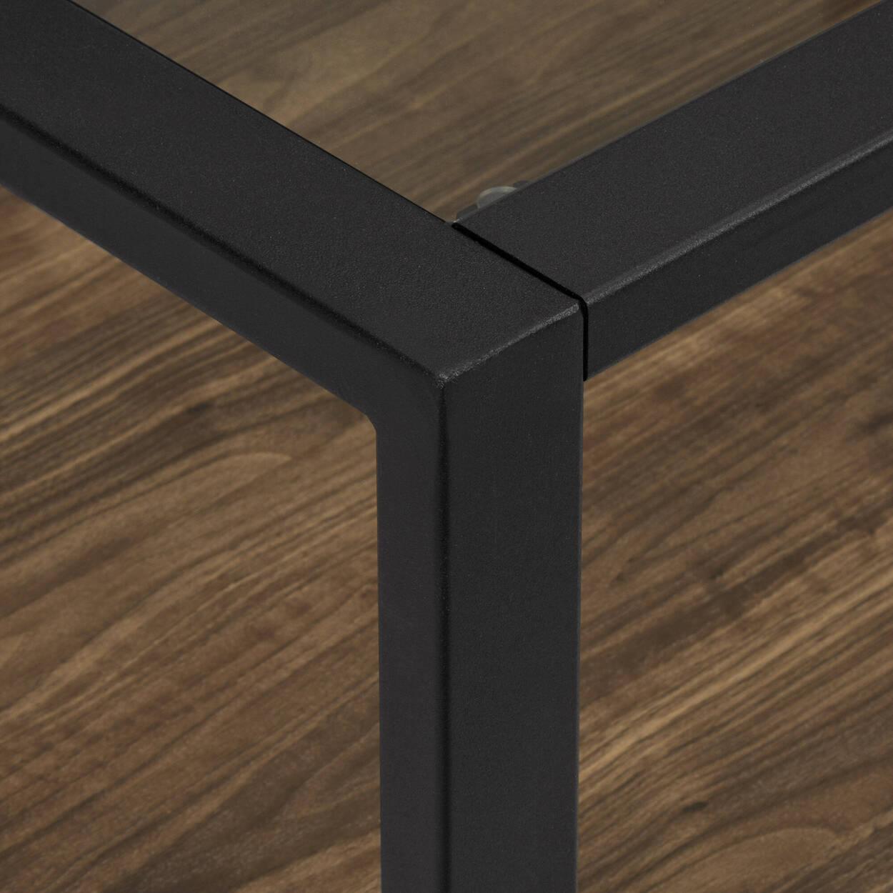 Table basse en verre, en fer et en placage
