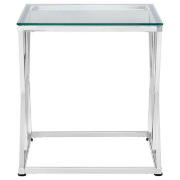 Tempered Glass Side Table with Metal Legs