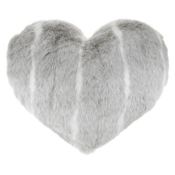 "Deer Heart-Shaped Faux Fur Decorative Pillow 24"" X 20"""