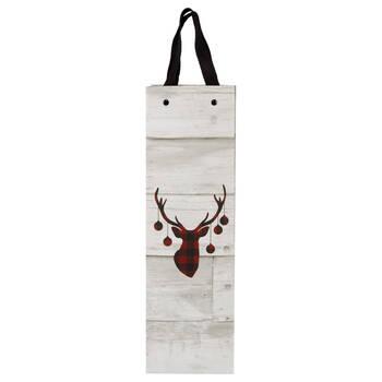 Buffalo Plaid Deer Wine Bag
