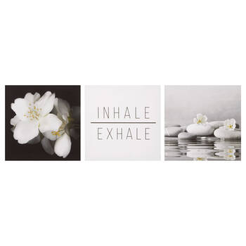 Set of 3 Inhale Exhale Printed Canvases