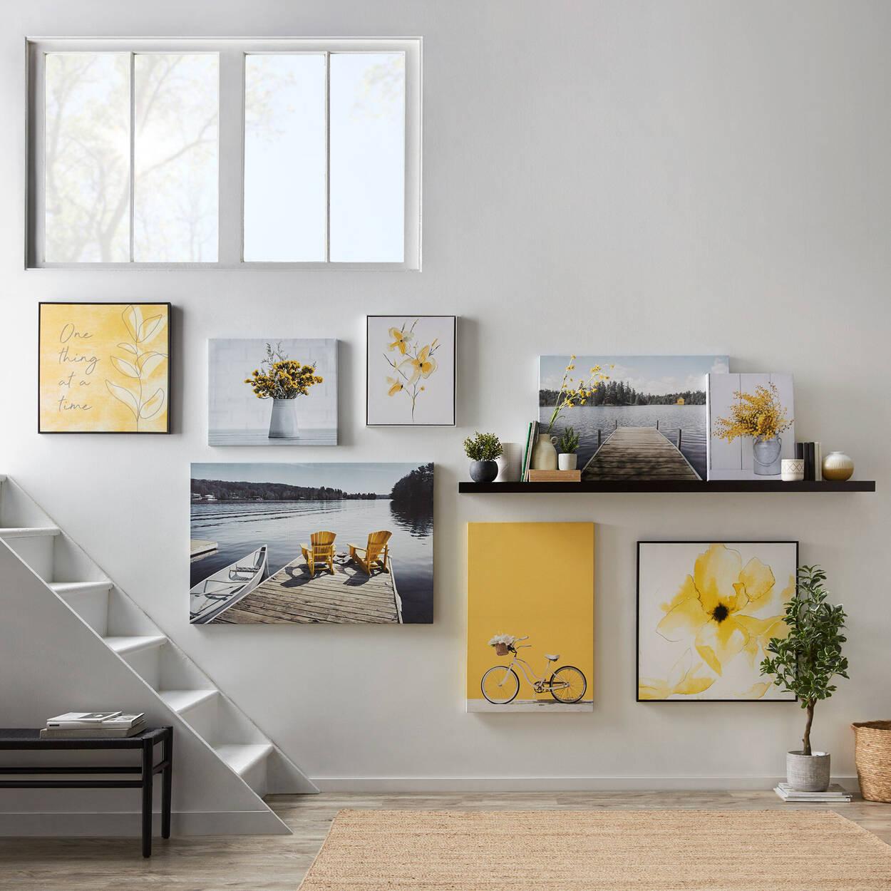 Tableau imprimé chaises Adirondack jaunes