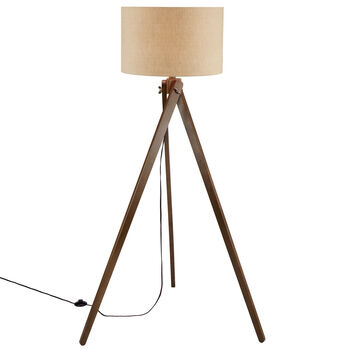 Wood and Linen Tripod Floor Lamp