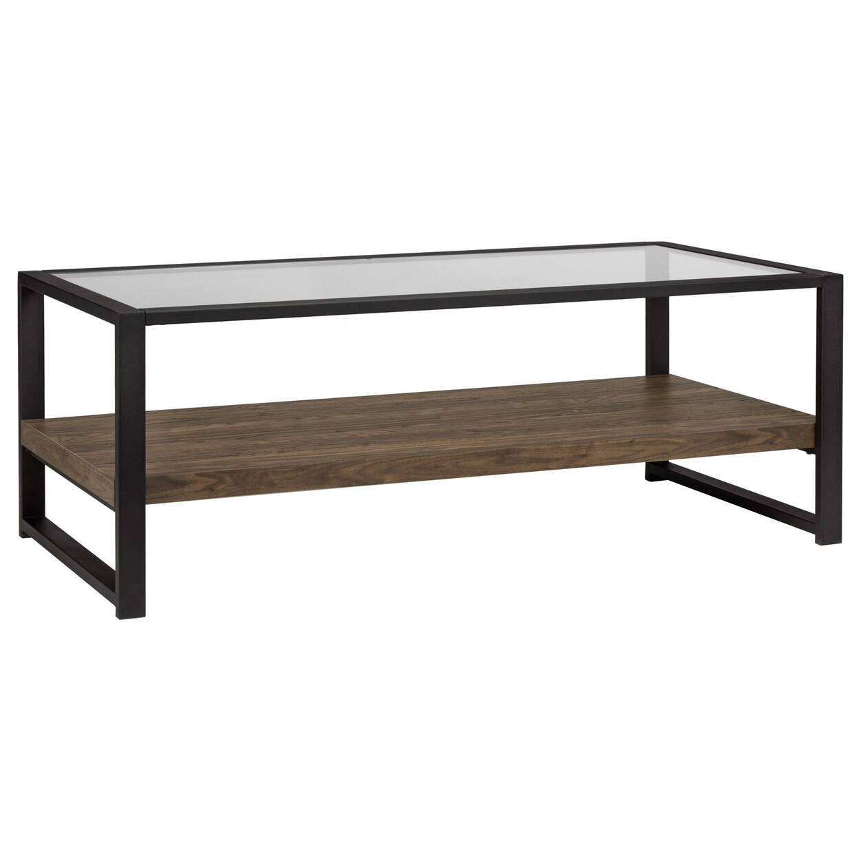 Glass, Iron and Veneer Coffee Table
