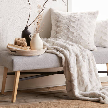 Upholstered Fabric and Wood Bench