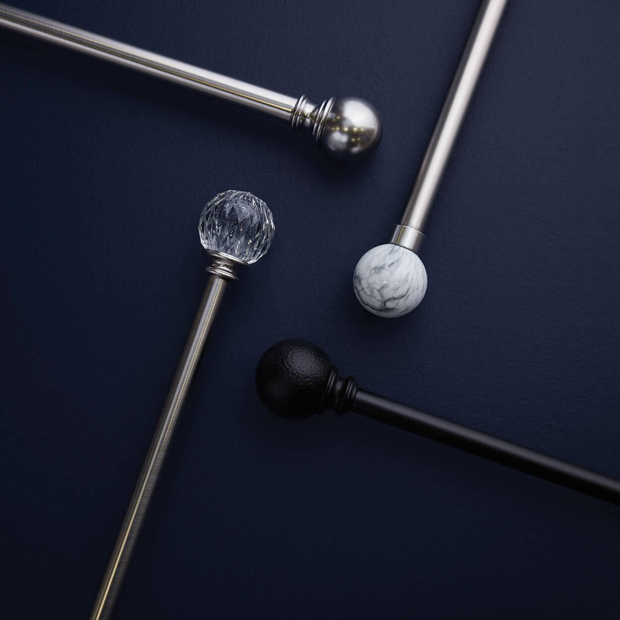 Ensemble de tringle à rideaux à motif marbré - Diamètre 25/28 mm