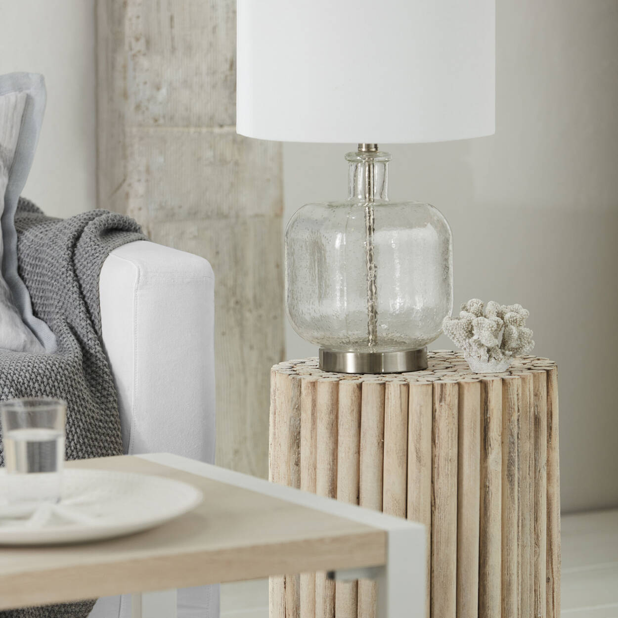 Bubble Glass and Fabric Table Lamp