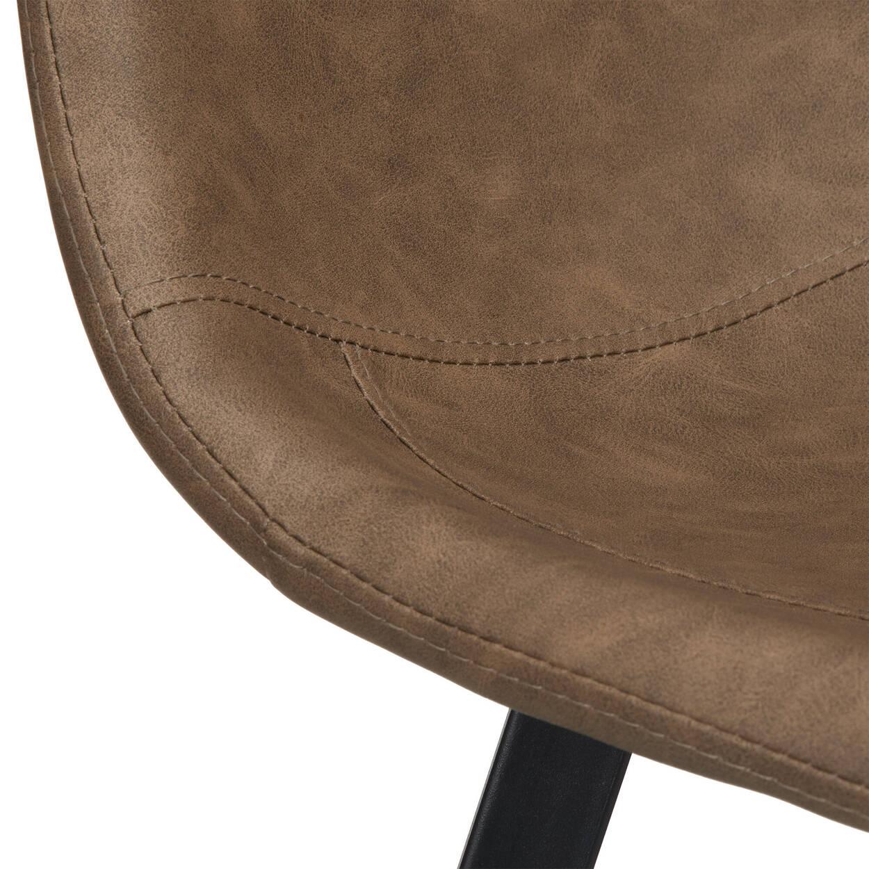 Tabouret de bar en similicuir avec base en métal