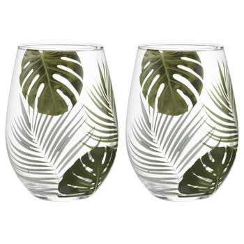Set of 2 Palm Leaves Glasses
