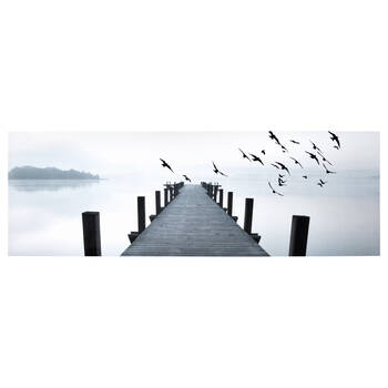 Birds At The Pier Printed Canvas