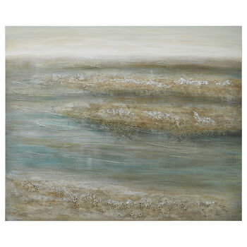 Abstract Seaside Oil Painted Canvas with Embellishments