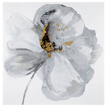 Abstract Poppy Printed Canvas with Foil Embellishments