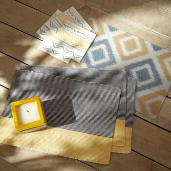 Ensemble de 4 napperons rayés en tissu