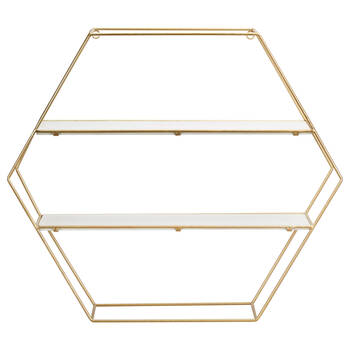 Hexagonal Gold Wire Wall Shelf