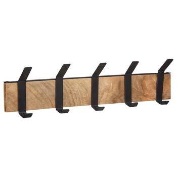 Ensemble de 5 crochets sur plaque en bois de manguier