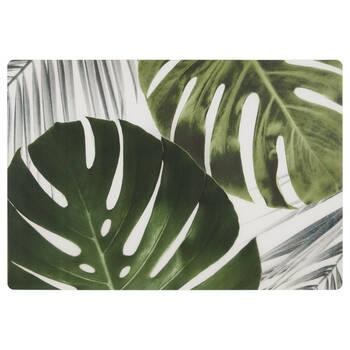 Ensemble de 4 napperons feuilles tropicales en bois et en liège