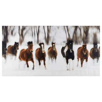 Running Horses Printed Canvas