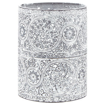 Porte chandelle en métal avec motif