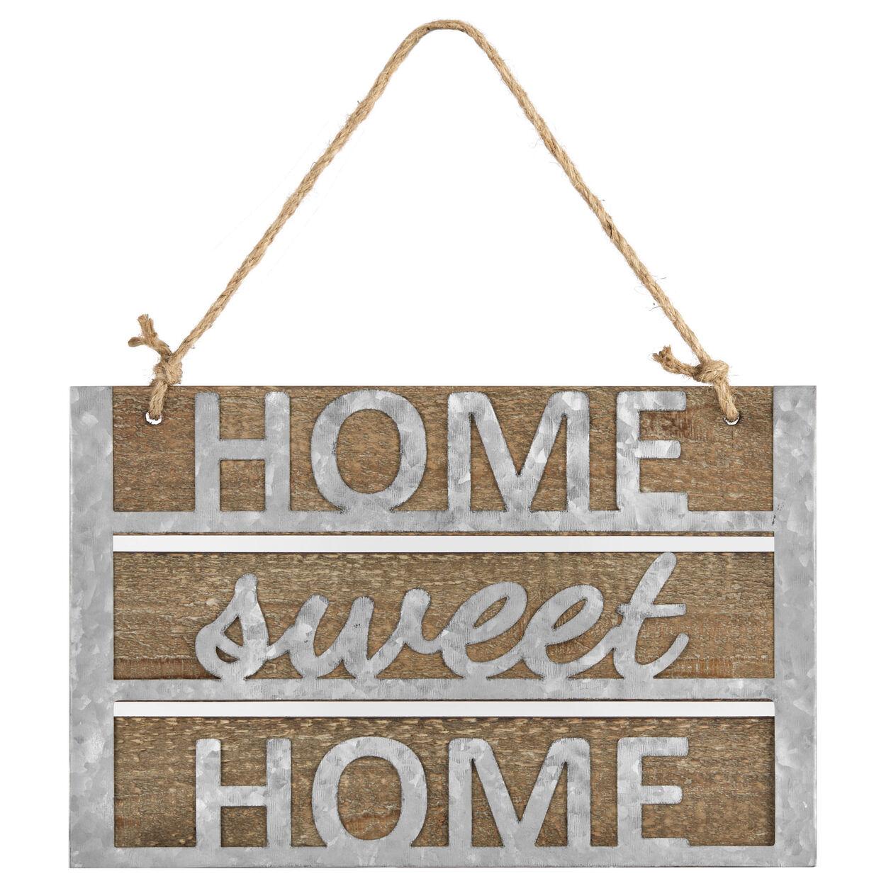 Home Sweet Home Wood & Metal Hanging Wall Art