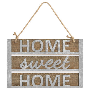 Home Sweet Home Wood & Metal Hanging Wall Art