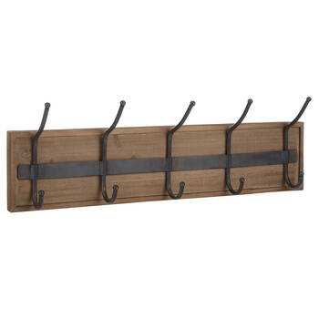Set of 5 Hooks on Wood Plank