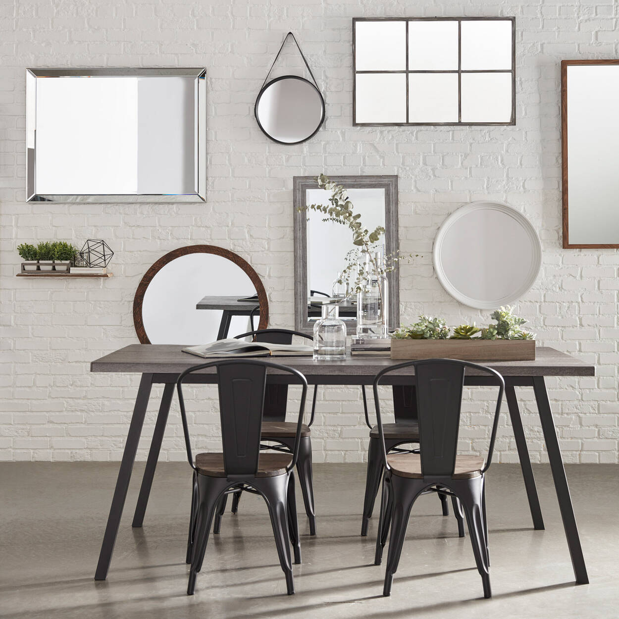 Veneer and Iron Dining Table