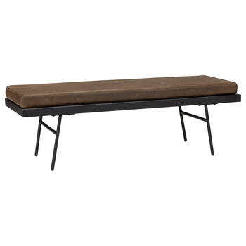 Textured Faux Leather and Metal Bench
