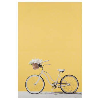 Bike and Yellow Wall Printed Canvas