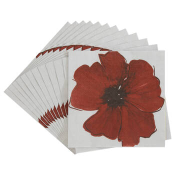 Pack of 20 Red Flower Paper Napkins