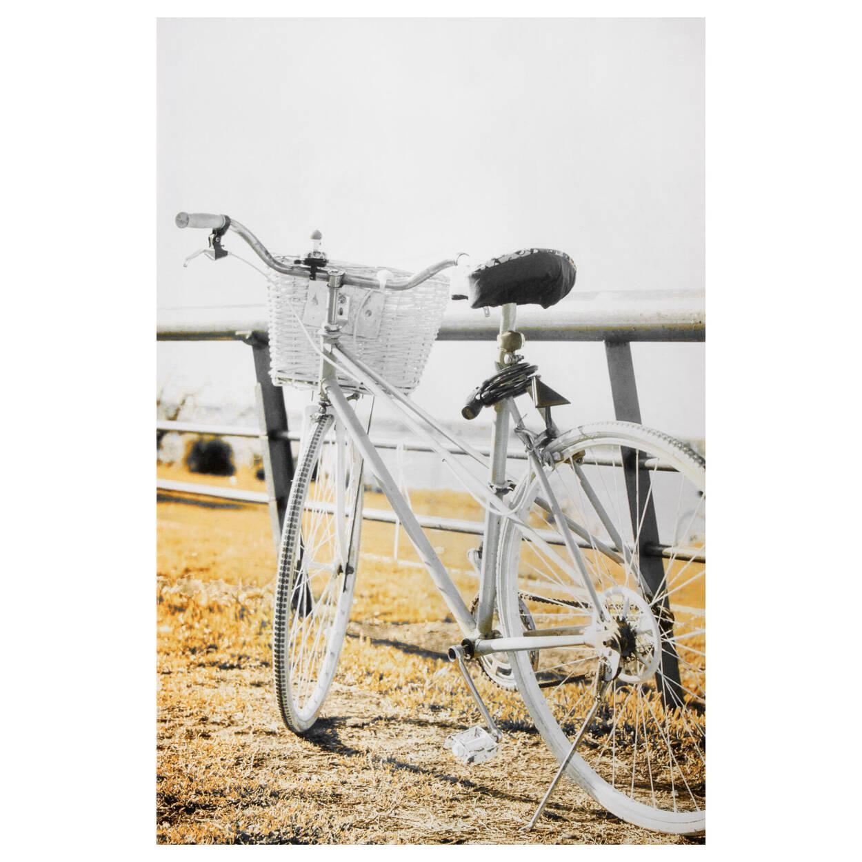 Tableau imprimé bicyclette jaune sur clôture