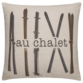 "Au Chalet Typography Decorative Pillow 19"" X 19"""