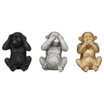 Statuettes des singes de la sagesse en résine
