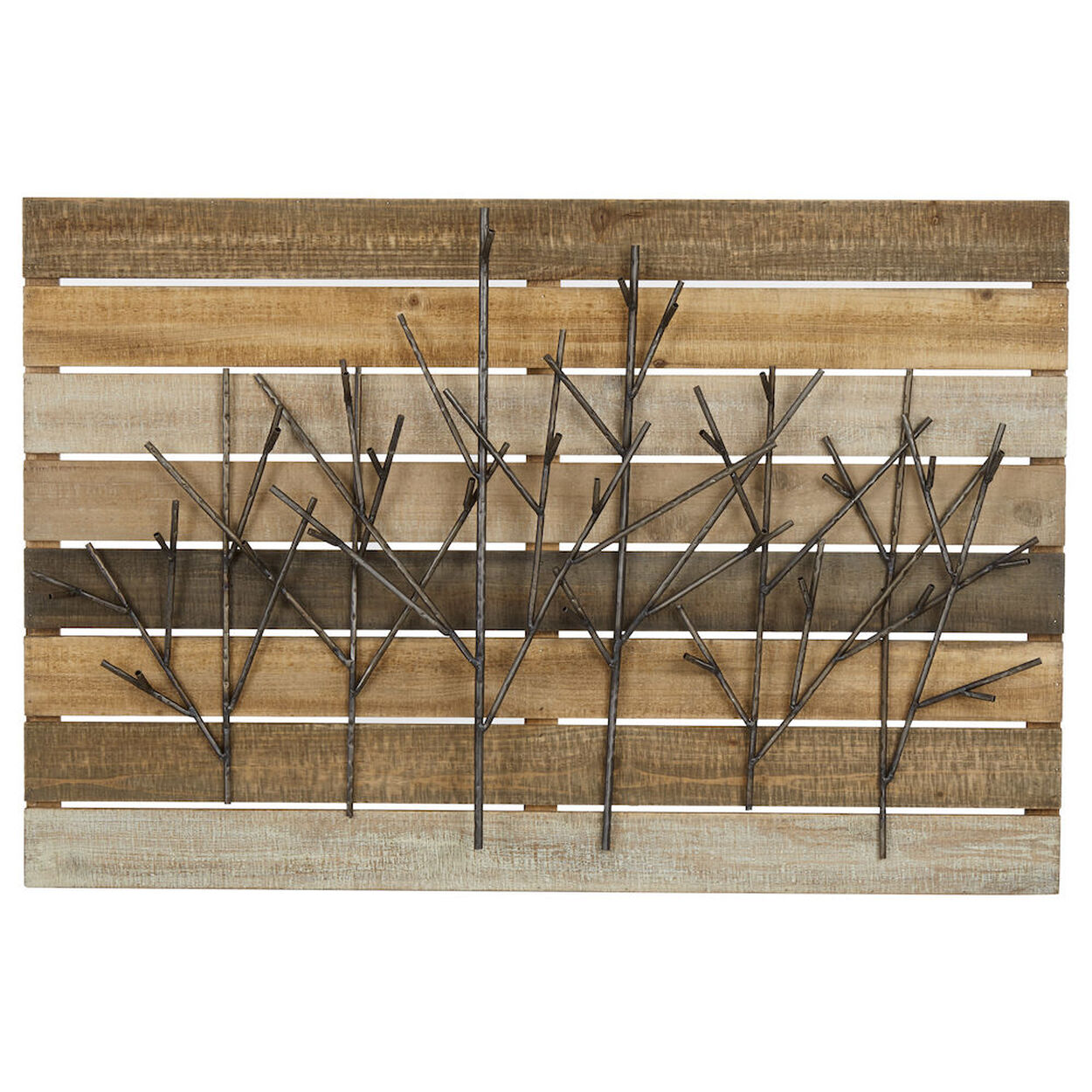 Metal Branches on Wood Plank Wall Art