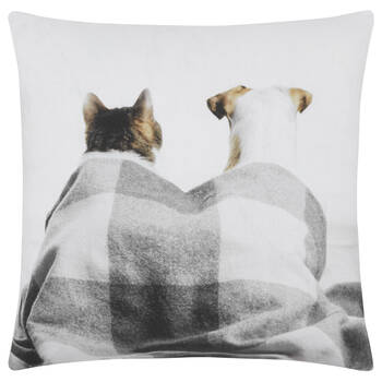 "Cat and Dog Decorative Pillow Cover 18"" X 18"""