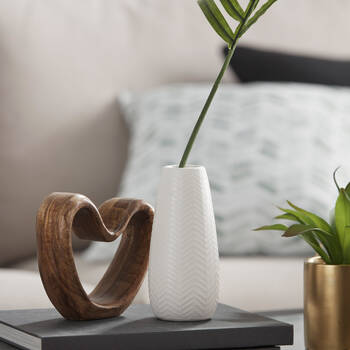 Chevron Textured Ceramic Vase