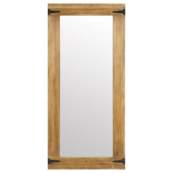 Wooden Mirror with Metal Hinges