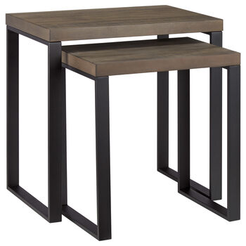 Set of 2 Wood Side Tables with Metal Legs